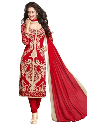 Red and beige printed synthetic unstitched kameez with dupatta