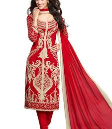Red and beige printed synthetic unstitched salwar with dupatta