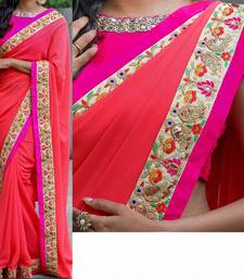 Buy Red embroidered georgette saree With Blouse for Wedding and Partywear wedding-saree online