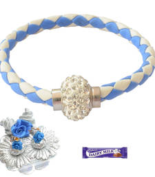 Buy Sea Blue and White Magnetic Braided & Stone Studded  Bracelet Rakhi For Brother bracelet-rakhi online