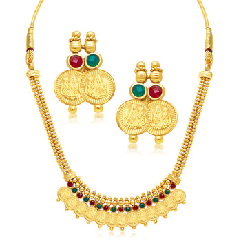 Stylish Laxmi Coin Temple Gold Plated Necklace Set For Women