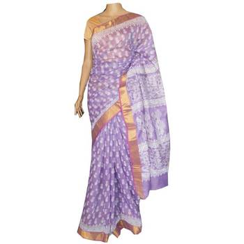 Lavender cotton Chanderi saree