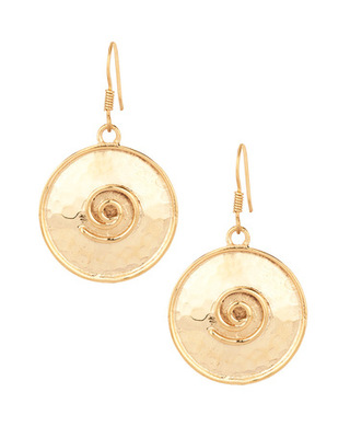 Gold Plated Dangler Earring Set With Spiral Designing