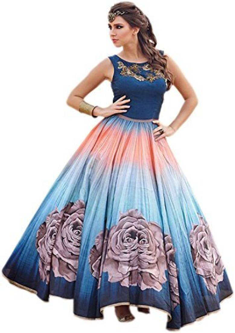 907363827c62 Blue raw silk embroidered semi stitiched party wear gowns - Sai Silk ...