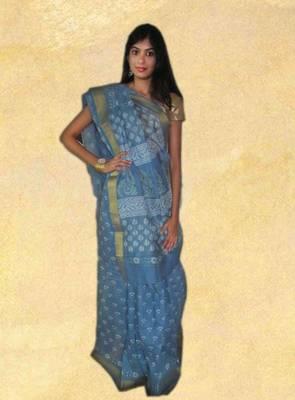 Blue cotton chanderi saree