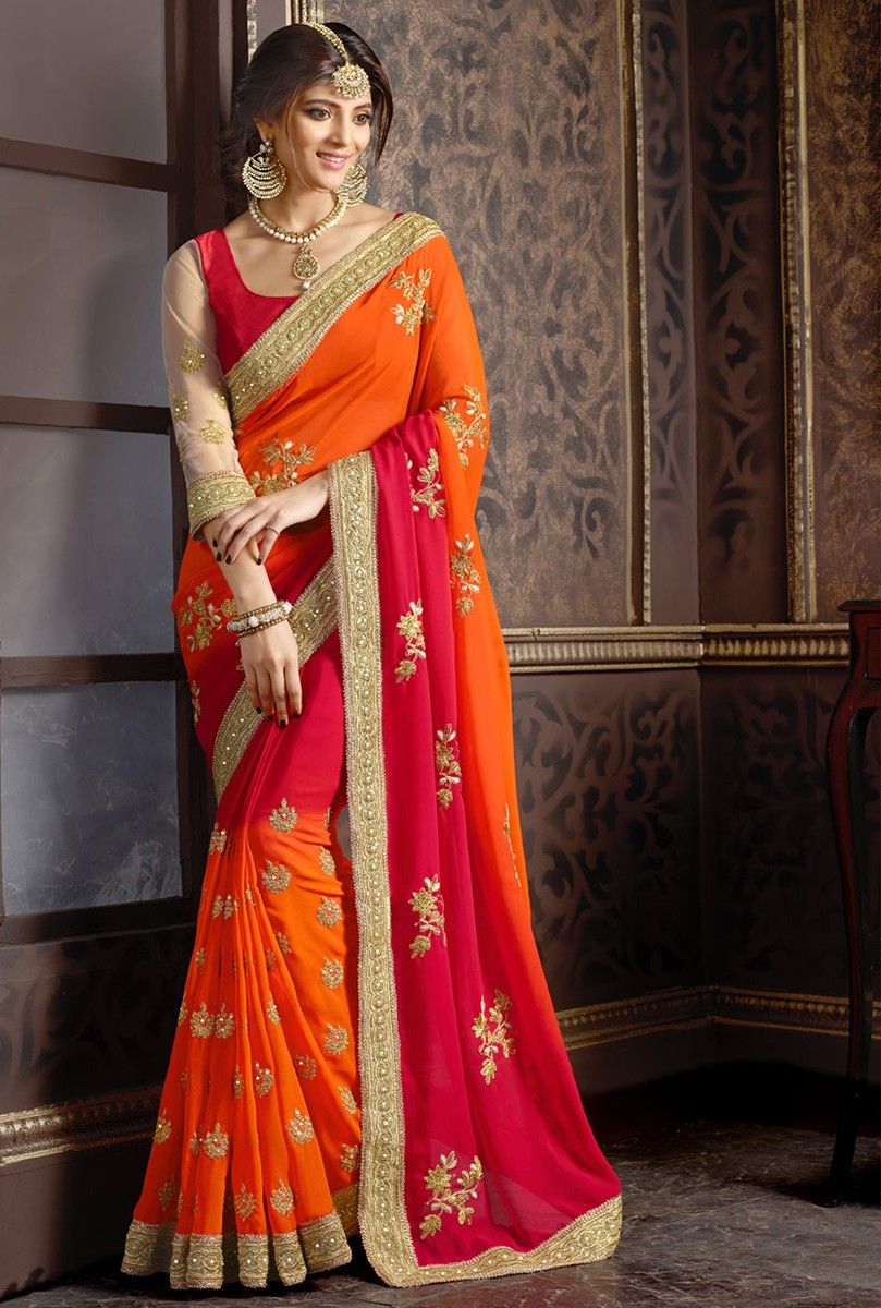 643463e777898 RED embroidered faux georgette saree With Blouse - Meera Trendz - 1373950