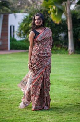 Rust cotton Kalamkari saree