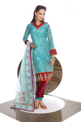Chanderi Cotton Embroidered Salwar kameez Dress Material SCFM21A