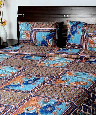 Floral Print Blue Cotton Bedsheet