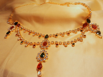royal ethenic pearl nd kundan l gold platted belly waistbelt