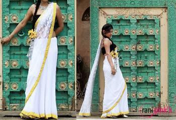 White and yellow net Saree