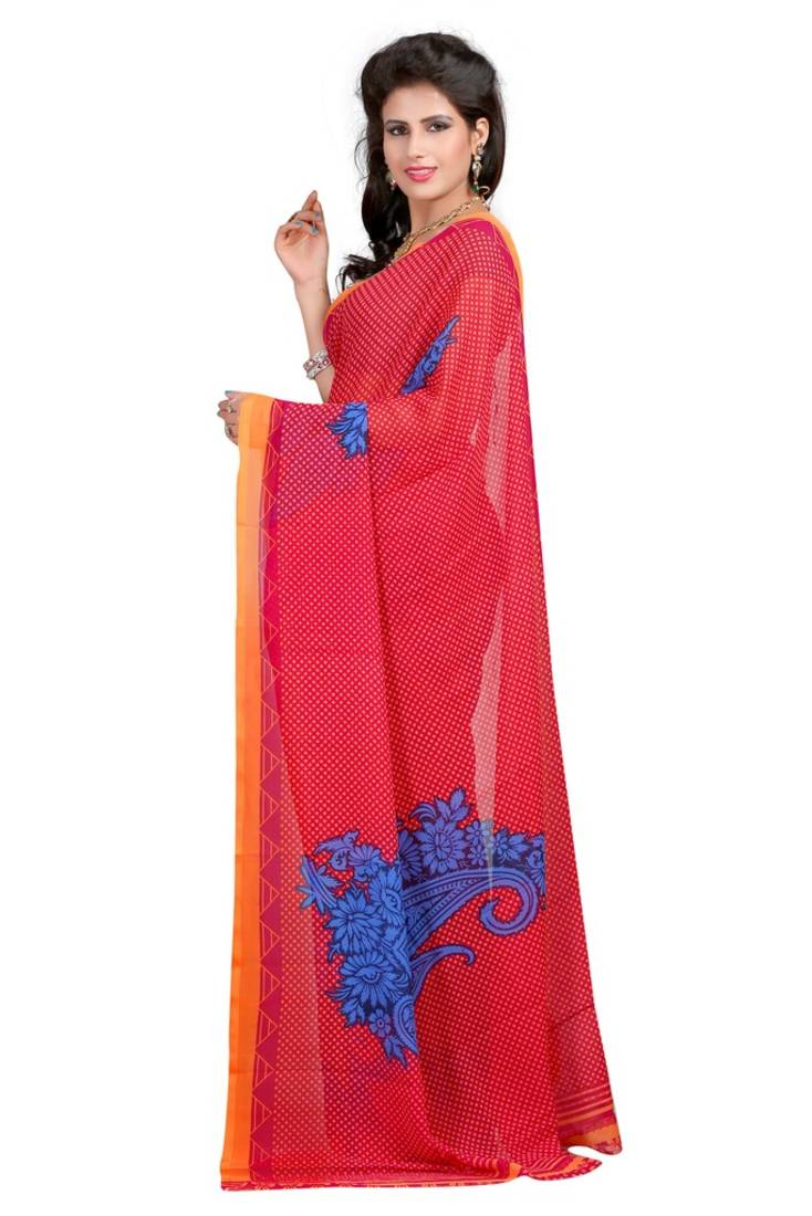 Buy Red Printed Faux Georgette Saree With Blouse Online