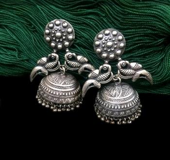 Big Silver Finish GS Jhumkas