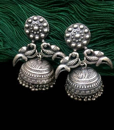 Buy Big Silver Finish GS Jhumkas stud online