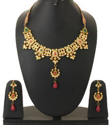 Buy Red & Green Colour Ethnic Wedding Indian Kundan Necklace Set For Women necklace-set online
