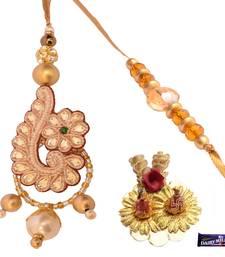 Buy Chic Designer Golden Bead Work  Bhaiya Bhabhi Rakhi Set rakhi-gift-hamper online