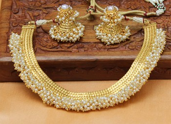 Designer Gold Plated Pearl Necklace