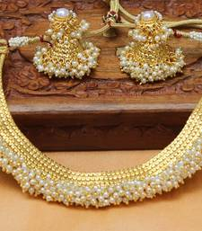 Buy Designer Gold Plated pearl Necklace diwali-jewellery online