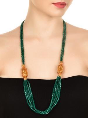 Green Crystal And Gheru Brooch Necklace
