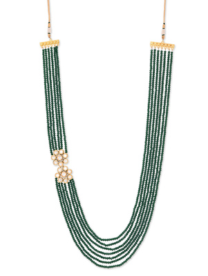 Green Crystal And Kundan Brooch Pankhi Gold Plated Necklace