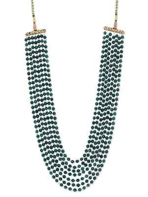 Green Semi Precious Onyx and Shell Pearl Satlada Sabyasachi Necklace