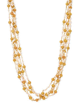 Pearls And Gold 5 Line Necklace