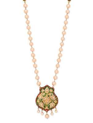 Thewa Work Kundana Nd Meenakari Necklace