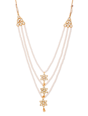 Pearls And Kundan Three Line Teenlada Necklace