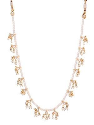 Kundan And Pearls Elegant Single Line Necklace
