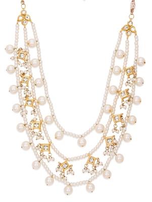 Kundan And Pearls Three Line Necklace