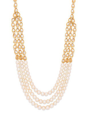 Gold Kundan And Pearls Three Line Necklace