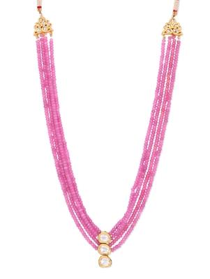 Pink Onyx Semi Precious Kundan Necklace
