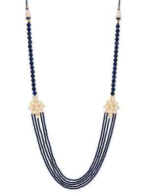 Black Semi Precious Onyx And Kundan Brooch Necklace