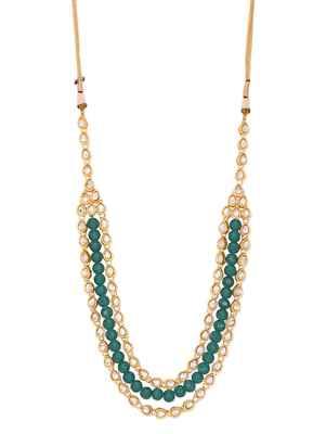 Kundan And Green Onyx Semi Precious Gold Plated Necklace