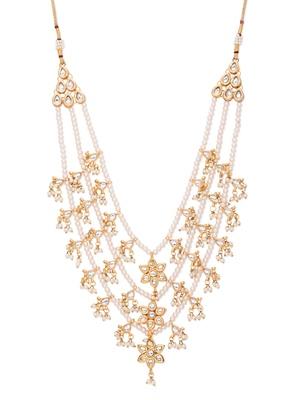 Kundan And Pearls Three Line Teenlada Star Raani Haar Necklace