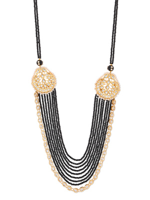 Black Crystals And Gold Kundan Heavy Layered Necklace