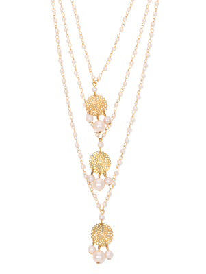 Gold Filigree Elegant Three Line Teenlada Necklace