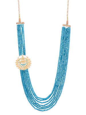 Turquoise Onyx And Meenakari Kundan Pankhi Brooch Necklace