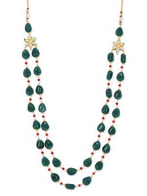 Green Semi Precious Stones And Red Crystals Necklace