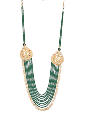 Green Crystals And Gold Plated Kundan Layered Necklace