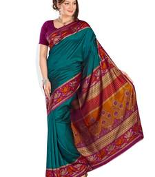 Buy dark green printed art silk saree With Blouse bhagalpuri-silk-saree online