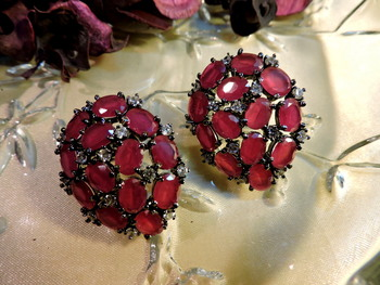 Royal Ruby Cz Stone Real Look Danglers