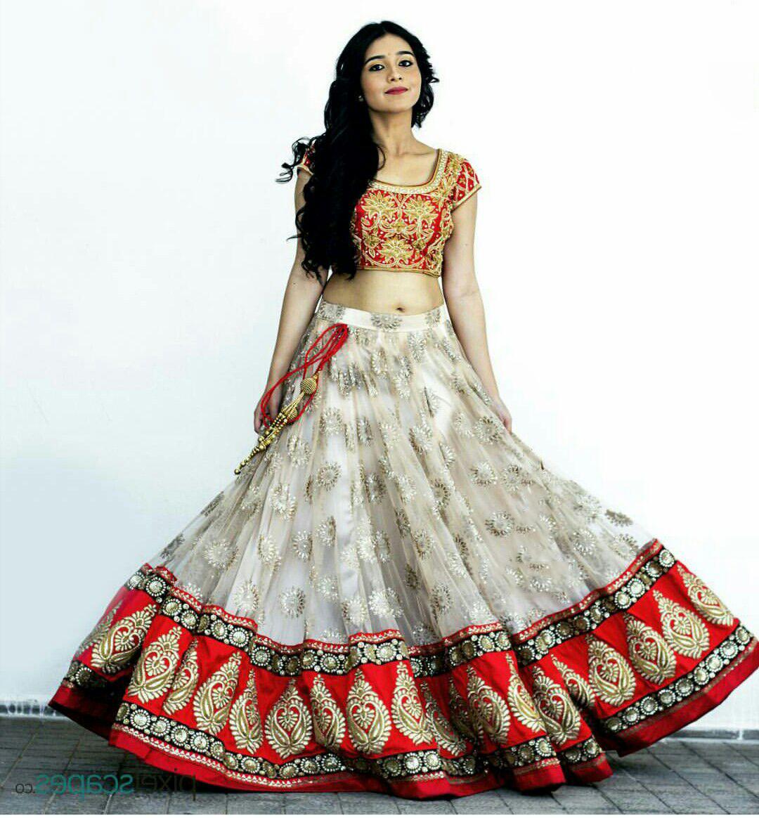 9285ac3b83 White net unstitched lehenga choli - Aahwan - 1379779