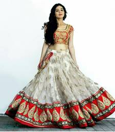 Buy White net unstitched lehenga choli black-friday-deal-sale online
