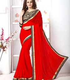 Buy Red  embroidered chiffon saree with blouse women-ethnic-wear online