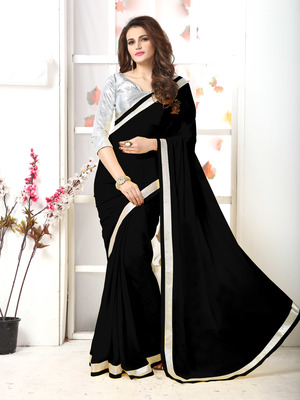 Black Embroidery Chiffon Saree With Blouse
