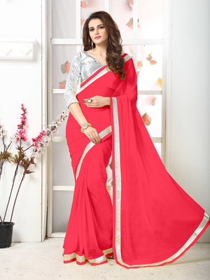 Pink  Embroidery chiffon saree with blouse