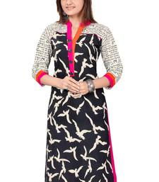 Buy Fashionlife Black printed cotton semi stitched Free Size kurti kurtas-and-kurti online