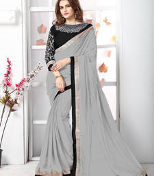 Grey plain chiffon saree with blouse