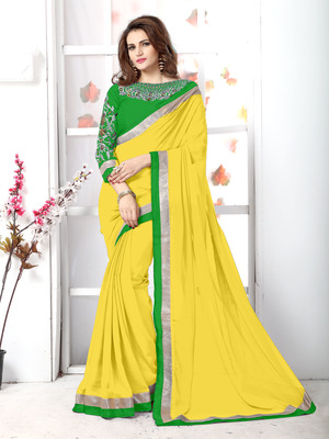 Yellow plain chiffon saree with blouse